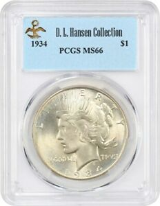 1934 $1 PCGS MS66 EX: D.L. HANSEN   GOLDEN GEM   PEACE SILVER DOLLAR