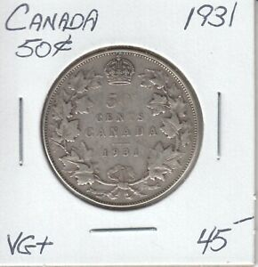 CANADA 50 CENTS 1931   VG
