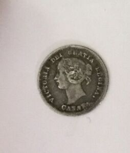 Click now to see the BUY IT NOW Price! 1858 CANADA FIRST ISSUE 5 CENTS SHARP MID GRADE AND ORIGINAL REVERSE DIE CRACKS