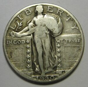 1930 SILVER STANDING LIBERTY QUARTER GRADING VG NICE UNCLEANED COIN  Q26