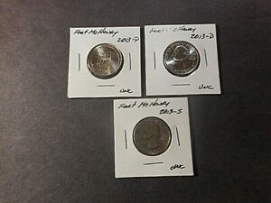 2013 AMERICA THE BEAUTIFUL QUARTERS FORT MCHENRY. SET OF 3 P D S UNC CON.