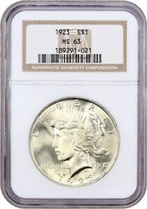 1923 $1 NGC MS63   PEACE SILVER DOLLAR
