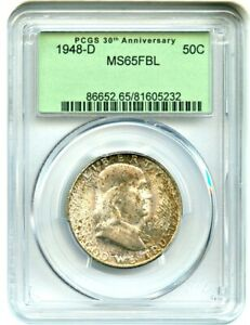 1948 D 50C PCGS MS65 FBL  RETRO OGH     PCGS 30TH ANNIVERSARY LABEL