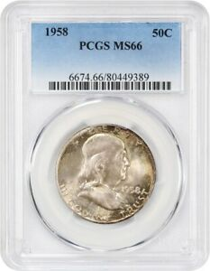 1958 50C PCGS MS66   COLORFUL TONING   FRANKLIN HALF DOLLAR   COLORFUL TONING