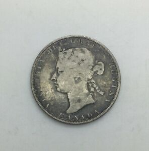 CANADA 1881 H  FIFTY CENTS SILVER VICTORIA DECENT CIRCULATED MID GREY COLOUR