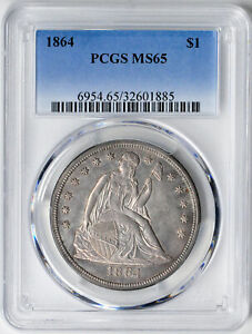 Click now to see the BUY IT NOW Price! 1864 LIBERTY SEATED S$1 PCGS MS 65
