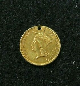 1857     PRINCESS HEAD   $1 GOLD      JEWELRY COIN    HOLED   TYPE 3