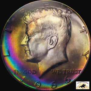 Click now to see the BUY IT NOW Price! 1966 KENNEDY HALF DOLLAR PCGS MS 67 SMS MONSTER RAINBOW TONE