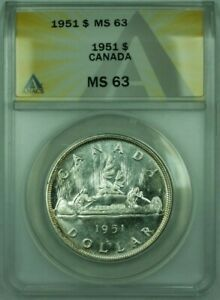 Click now to see the BUY IT NOW Price! 1951 CANADA DOLLAR $1 SILVER ANACS MS 63  UNDERGRADED