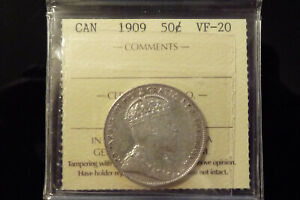1909 CANADA SILVER FIFTY 50 CENTS   ICCS VF 20