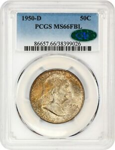 Click now to see the BUY IT NOW Price! 1950 D 50C PCGS/CAC MS66 FBL   BEAUTIFUL REVERSE RAINBOW TONING