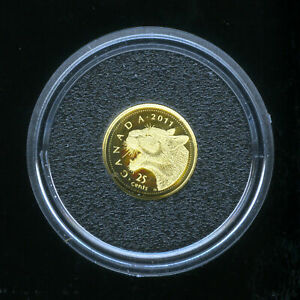 CANADA 2011 COUGAR .9999 FINE GOLD PROOF COIN .5G  25 CENTS RCM COA BOXED