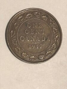 1917   CANADA LARGE PENNY 1C   CANADIAN 1 CENT COIN   ONE CENT