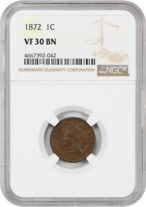 1872 1C NGC VF30 BN   KEY DATE   INDIAN CENT   KEY DATE