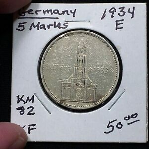 Click now to see the BUY IT NOW Price! 1934 E GERMANY   THIRD REICH 5 REICHSMARK SILVER COIN KM 82 XF 2617
