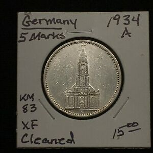 Click now to see the BUY IT NOW Price! 1934 A GERMANY   THIRD REICH 5 REICHSMARK SILVER COIN KM 83 XF CLEANED 2618