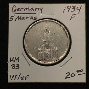 Click now to see the BUY IT NOW Price! 1934 F GERMANY   THIRD REICH 5 REICHSMARK SILVER COIN KM 83 VF/XF 2619