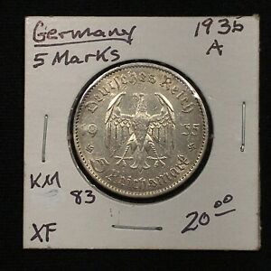 Click now to see the BUY IT NOW Price! 1935 A GERMANY   THIRD REICH 5 REICHSMARK SILVER COIN KM 83 XF 2622