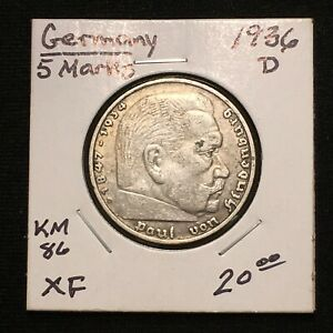 Click now to see the BUY IT NOW Price! 1936 D GERMANY   THIRD REICH 5 REICHSMARK SILVER COIN KM 86 XF 2632