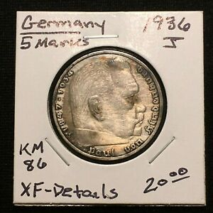 Click now to see the BUY IT NOW Price! 1936 J GERMANY   THIRD REICH 5 REICHSMARK SILVER COIN KM 86 XF DETAILS 2633