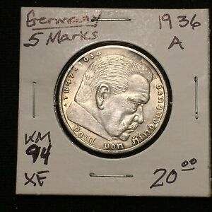 Click now to see the BUY IT NOW Price! 1936 A GERMANY   THIRD REICH 5 REICHSMARK SILVER COIN KM 94 XF 2634