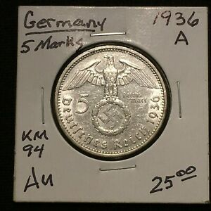 Click now to see the BUY IT NOW Price! 1936 A GERMANY   THIRD REICH 5 REICHSMARK SILVER COIN KM 94 AU 2635