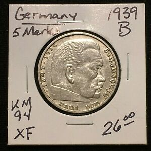 Click now to see the BUY IT NOW Price! 1939 B GERMANY   THIRD REICH 5 REICHSMARK SILVER COIN KM 94 XF 2636