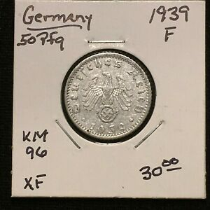 Click now to see the BUY IT NOW Price! 1939 F GERMANY   THIRD REICH 50 REICHSPFENNIG COIN KM 96 XF 2637