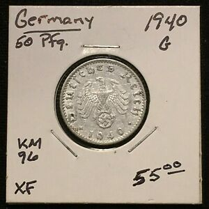 Click now to see the BUY IT NOW Price! 1940 G GERMANY   THIRD REICH 50 REICHSPFENNIG COIN KM 96 XF 2638