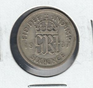 1937 UNITED KINGDOM KING GEORGE VI 6 PENCE SILVER 0.50  COIN IN NICE CONDTION