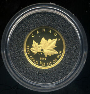 CANADA 2009 RED MAPLE TREE GOLD PROOF COIN .9999 1/25 OUNCE RCM BOXED COA