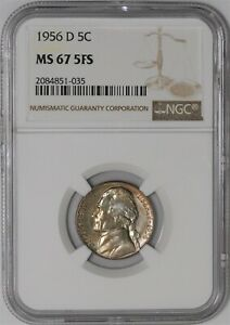 Click now to see the BUY IT NOW Price! 1956 D JEFFERSON NICKEL 5C MS67 5FS NGC 938929 54
