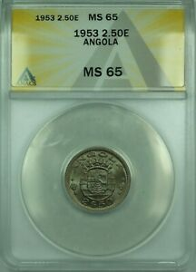 Click now to see the BUY IT NOW Price! 1953 2.50E ANGOLA ANACS MS 65 COIN 2.50 ESCUDOS COPPER NICKEL KM77