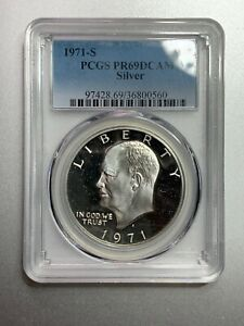 PCGS 1971S EISENHOWER PR69DCAM WITH SEALED UNCIRCULATED DOLLAR  UNC 1971S SIL