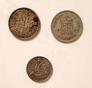 GREAT BRITAIN UK COINS TWO 1944 SIX PENCE ONE 1935 THREE PENCE SILVER