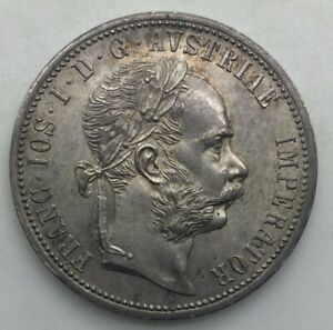 Click now to see the BUY IT NOW Price! AUSTRIA 1874 ONE FLORIN FRANZ JOSEF FULLY LUSTROUS NICELY  TONED BETTER DATE