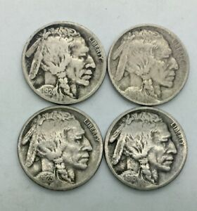 Click now to see the BUY IT NOW Price! 1913 P TYPE 2 1916 D 1923 S 1924 D MIXED LOT OF 4 BETTER BUFFALO NICKELS BETTER
