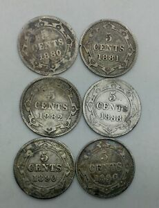 Click now to see the BUY IT NOW Price! 1880 1881 1882 1888 1890 1896 NEWFOUNDLAND 5 CENTS SILVER MIXED GRADE LOT OF SIX