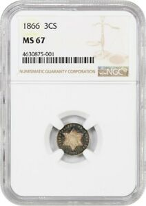 1866 3CS NGC MS67   GORGEOUS TONING   3 CENT SILVER   GORGEOUS TONING