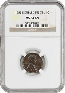 Click now to see the BUY IT NOW Price! 1955/1955 1C NGC MS64 BN   POPULAR VARIETY   LINCOLN CENT   POPULAR VARIETY