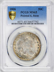 Click now to see the BUY IT NOW Price! 1806 DRAPED BUST 50C PCGS MS 65