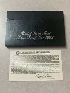 1992 SILVER PROOF SET  BOX/COA ONLY