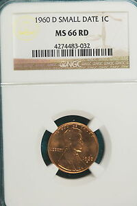 1960 D NGC MS66 RED SMALL DATE LINCOLN MEMORIAL CENT   A2890