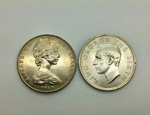 Click now to see the BUY IT NOW Price! NEW ZEALAND 1949 SILVER UNC CROWN 5 SHILLINGS & 1969 CAPTAIN COOK DOLLAR