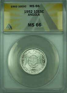 Click now to see the BUY IT NOW Price! 1952 10E ANGOLA ANACS MS 66 COIN 10 ESCUDOS SILVER KM73