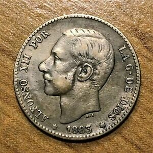 Click now to see the BUY IT NOW Price! 1883 SPAIN PESETA COIN SILVER KM 686 XF