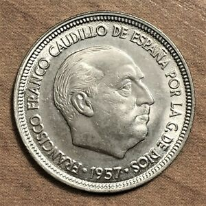 Click now to see the BUY IT NOW Price! 1957  58  SPAIN 5 PESETAS COIN KM 786 UNC.