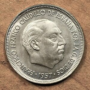 Click now to see the BUY IT NOW Price! 1958 SPAIN 5 PESETAS COIN KM 786 UNC.