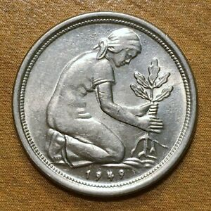 Click now to see the BUY IT NOW Price! 1949 G GERMANY   FEDERAL REPUBLIC 50 PFENNIG COIN KM 104 AU