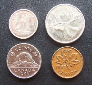 1968 CANADIAN 4 COIN LOT INCLUDES A CENT   NICKEL   DIME   QUARTER